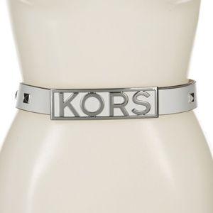 Michael Kors Leather Studded logo belt - White- S